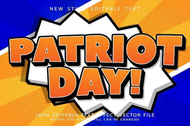 Estilo de desenho animado em relevo com efeito de texto editável do dia do patriota