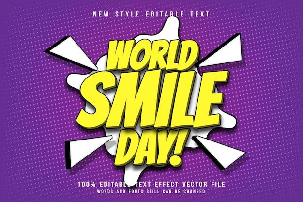 Estilo de desenho animado em relevo com efeito de texto editável do dia mundial do sorriso Vetor Premium