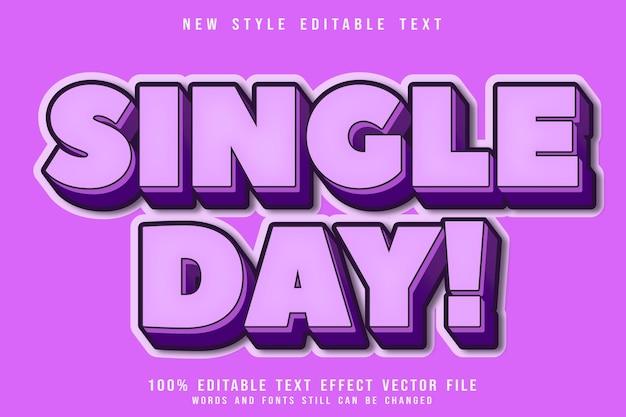 Estilo de desenho animado em relevo com efeito de texto editável em um dia