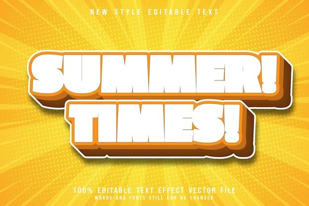 Estilo de desenho animado em relevo com efeito de texto editável no verão