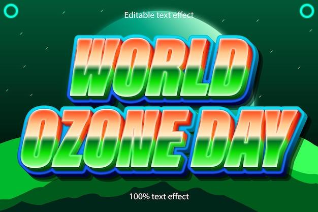 Estilo de desenho animado em relevo de 3 dimensões com efeito de texto editável do dia mundial do ozônio