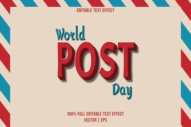 Estilo de desenho animado em relevo de 3 dimensões com efeito de texto editável do dia mundial pós-dia