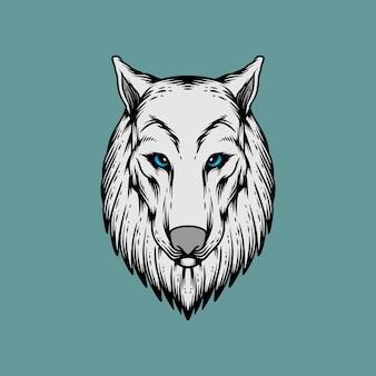 Estilo de desenho de cabeça de lobo na mão