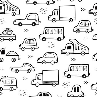 Estilo de desenho de doodle de padrão de carro