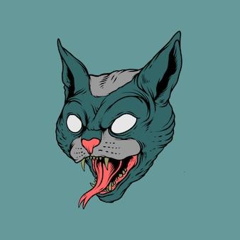 Estilo de desenho de gato monstro na mão