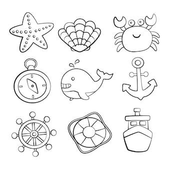 Estilo de desenho de ícones conjunto náutico. isolado no fundo branco.
