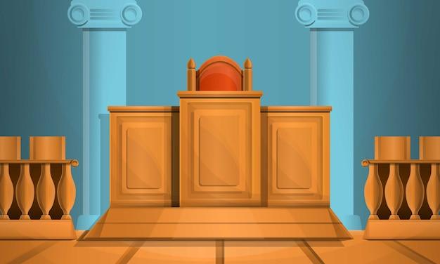 Estilo de desenho de ilustração de tribunal