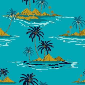 Estilo de desenho de mão de ilha tropical na moda estilo de verão sem costura padrão vector