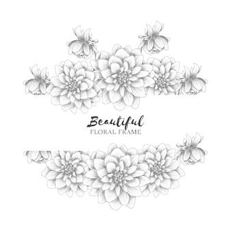 Estilo de desenho de moldura linda flor dália