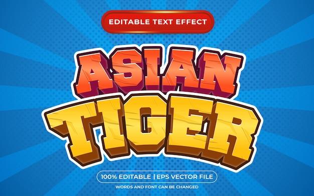 Estilo de desenho e estilo de jogo com efeito de texto editável do tigre asiático em 3d