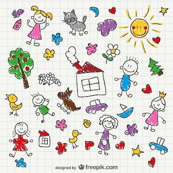 Estilo de desenho mão das crianças