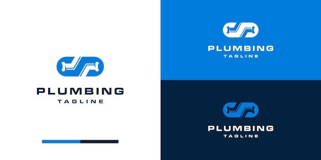 Estilo de design de logotipo de encanamento com s inicial