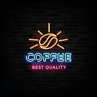 Estilo de design de néon do logotipo do café