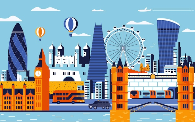 Estilo de design plano colorido da cidade de londres. paisagem urbana com todos os edifícios famosos. composição da cidade de londres do horizonte para o projeto. fundo de viagens e turismo. ilustração vetorial Vetor Premium