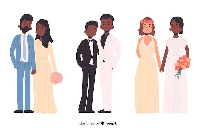 Estilo de design plano de coleção de casal casamento