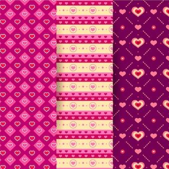 Estilo de design plano de coleção de padrão de dia dos namorados