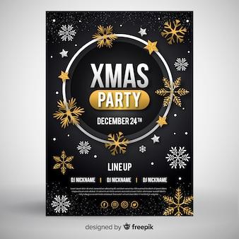 Estilo de design plano de modelo de panfleto de festa de natal