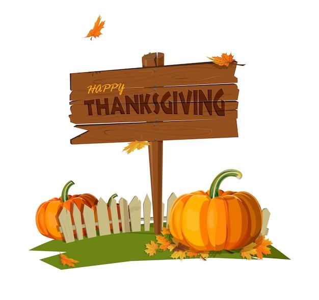 Estilo de design plano. feliz dia de ação de graças. placa de madeira. outono