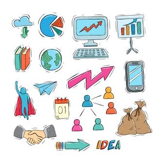 Estilo de doodle colorido da coleção de ícones de negócios