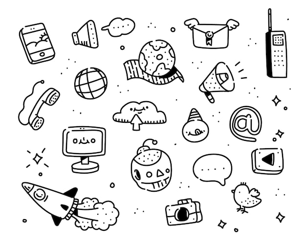 Estilo de doodle de internet. estilo de desenho de imaginação