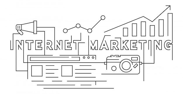 Estilo de doodle de linha plana de marketing na internet