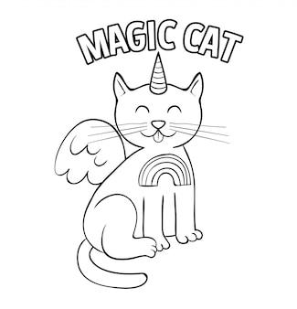 Estilo de doodle de unicórnio de gato mágico branco bonito.