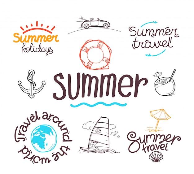 Estilo de doodle de viagens de verão