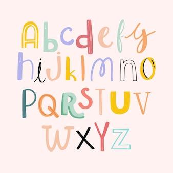 Estilo de doodle desenhado à mão de tipografia de alfabetos