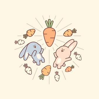 Estilo de doodle fofo de coelho e cenoura