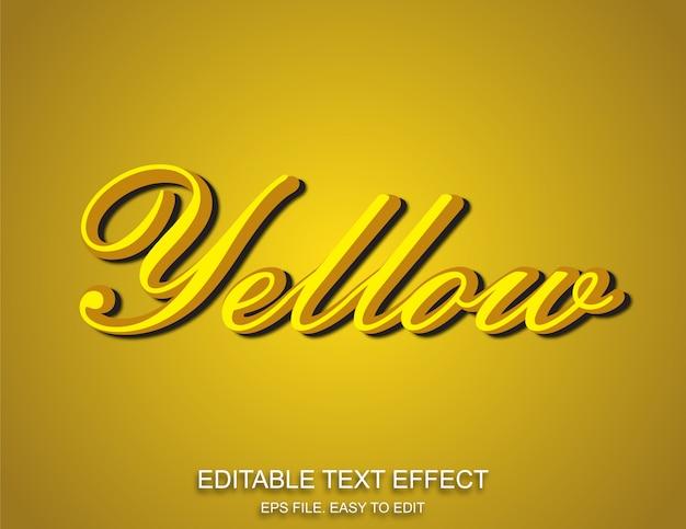 Estilo de efeito de texto 3d amarelo