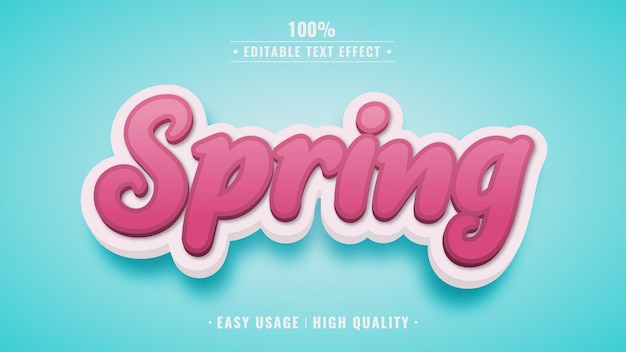 Estilo de efeito de texto 3d editável de primavera