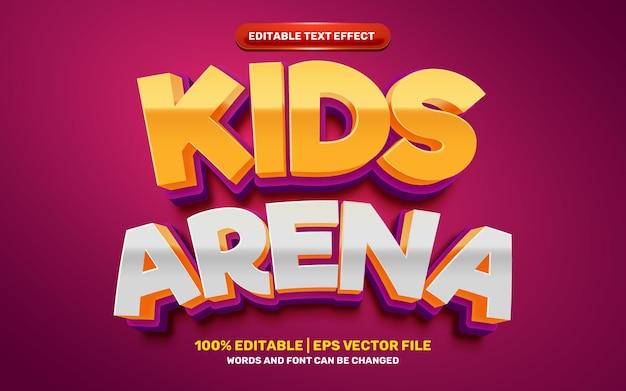 Estilo de efeito de texto 3d moderno em quadrinhos de desenhos animados da arena infantil