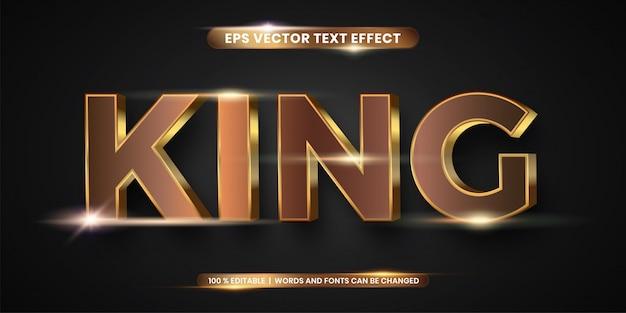 Estilo de efeito de texto 3d rei ouro