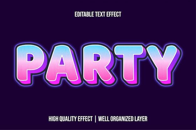 Estilo de efeito de texto brilhante moderno de festa