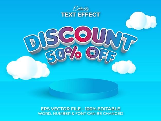 Estilo de efeito de texto com desconto tema de venda de efeito de texto editável