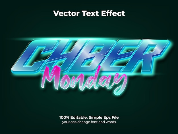 Estilo de efeito de texto cyber segunda-feira neon techno