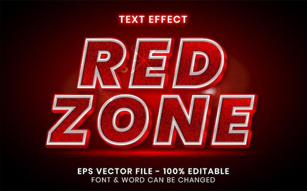 Estilo de efeito de texto da zona vermelha tema de piscar de efeito de texto editável Vetor Premium