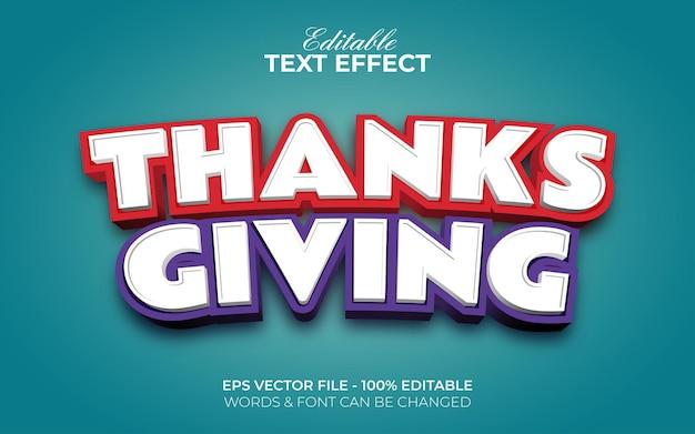 Estilo de efeito de texto de ação de graças. efeito de texto editável.