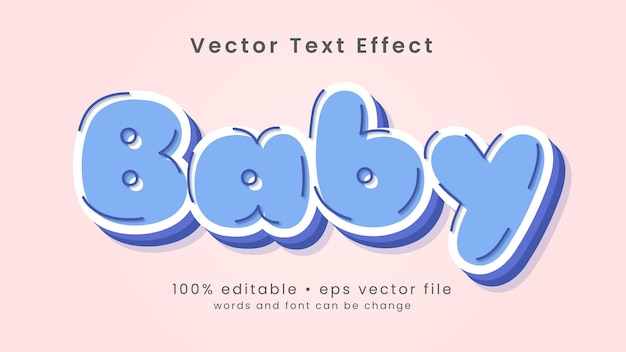 Estilo de efeito de texto de bebê fofo