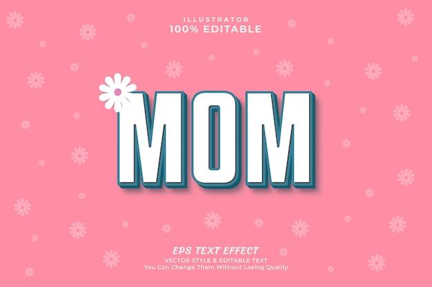 Estilo de efeito de texto de dia das mães com fundo, premium