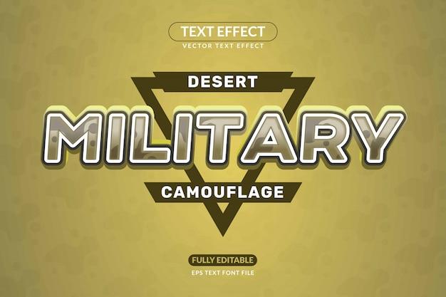 Estilo de efeito de texto de exército militar de camuflagem editável Vetor Premium
