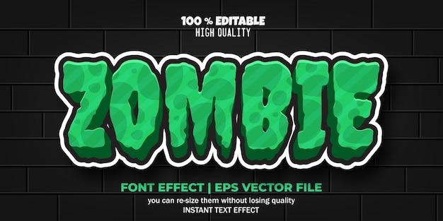 Estilo de efeito de texto de fonte editável zombie