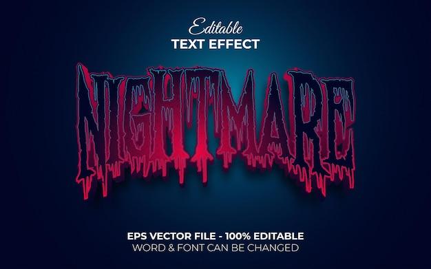 Estilo de efeito de texto de pesadelo tema de halloween editável