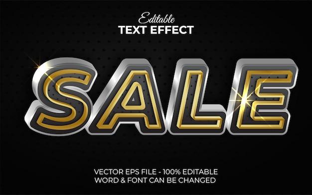 Estilo de efeito de texto de venda tema editável de efeito de texto ouro prateado