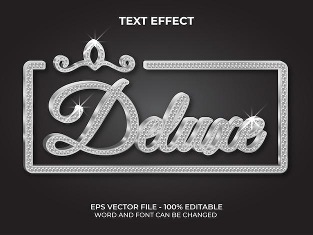 Estilo de efeito de texto deluxe prata efeito de texto editável com tema de padrão de diamante