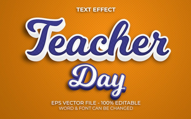 Estilo de efeito de texto do dia do professor efeito de texto editável
