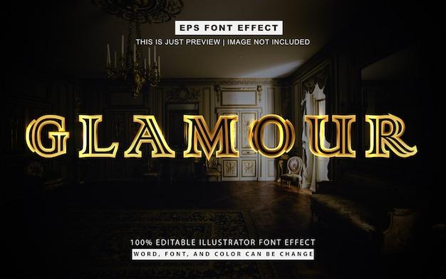 Estilo de efeito de texto dourado de glamour e luxo