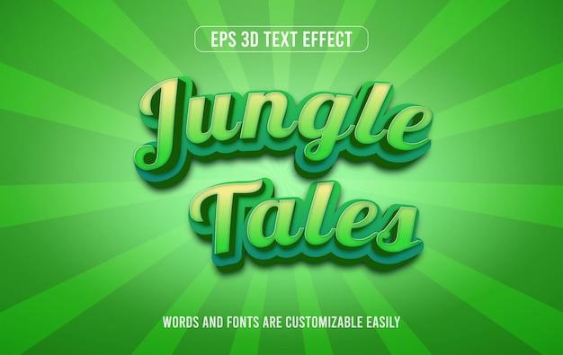 Estilo de efeito de texto editável 3d verde dos contos da selva