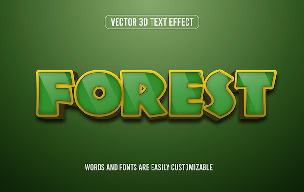 Estilo de efeito de texto editável 3d verde floresta