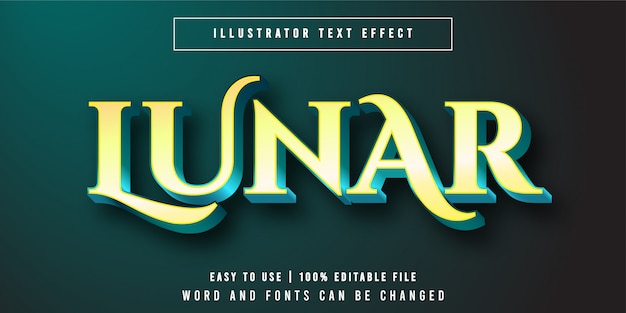 Estilo de efeito de texto editável amarelo lunar, luxo